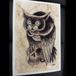 Coffee Meowl - Giclee Print